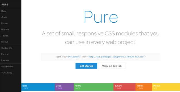 Pure框架 v2.0.5] 来自雅虎的CSS框架+响应式设计+提供表格表单按钮等多种样式的组件